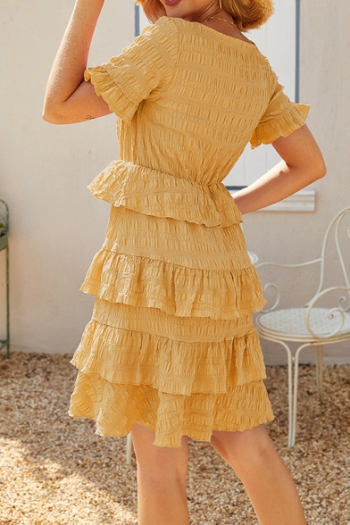 Plain Graceful Square Neck Ruffle Trim Short Sleeves Pleated Detail High Waist Mini Layered Dress