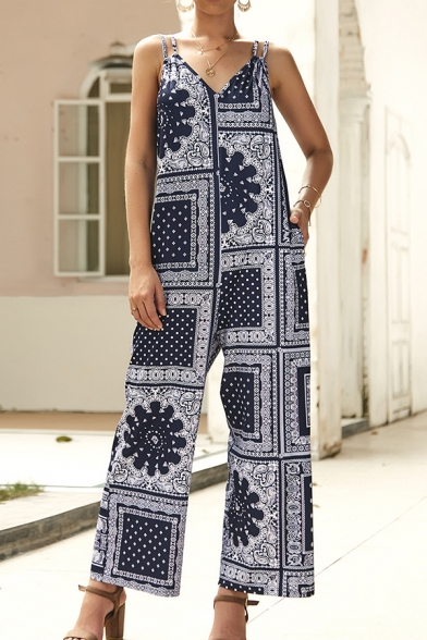 Trendy Navy Sleeveless V-Neck Geo Printed Open Back Wide-Leg Cami Jumpsuit