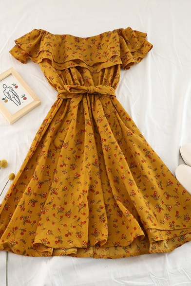 Vintage Fancy Girls' Short Sleeve Off The Shoulder All Over Floral Print Bow Tie Waist Midi Pleated A-Line Dress