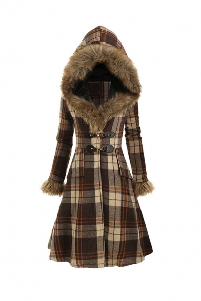 Classic Plaid Printed Fur Trim Long Sleeve Metal Button Longline Hooded Woolen Coat