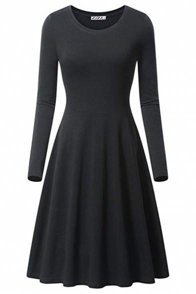 Formal Plain Long Sleeve Round Neck Plain Midi Pleated A-Line Dress for Ladies