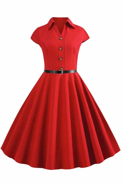 Formal Retro Plain Short Sleeve Lapel Collar Button Front Belted Midi Pleated Swing Polo Dress for Women