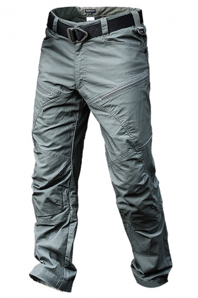 Men's Cool Solid Color Zipper Fly Straight Fit Outdoor Tactical Pants