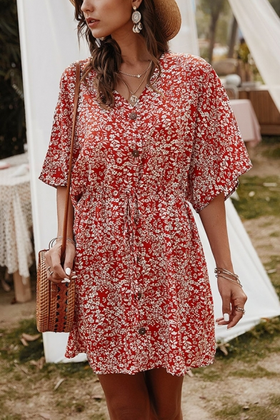 Simple Floral Printed V-Neck Half Sleeves Drawstring Waist Button Closure Mini A-Line Dress for Ladies