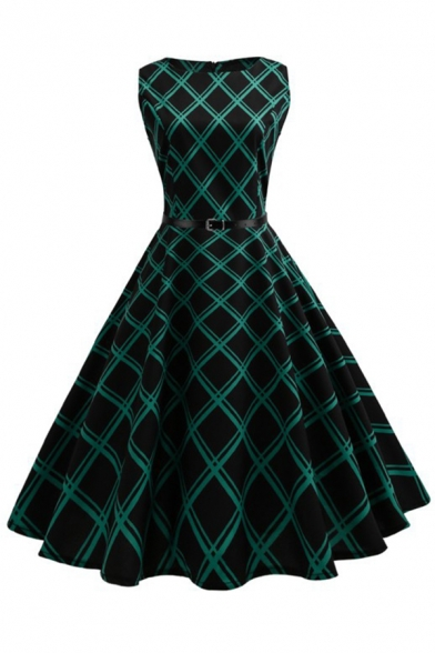 Vintage Girls' Sleeveless Boat Neck Rhomboid Print Belted Zipper Back Maxi Pleated Swing Dress in Black