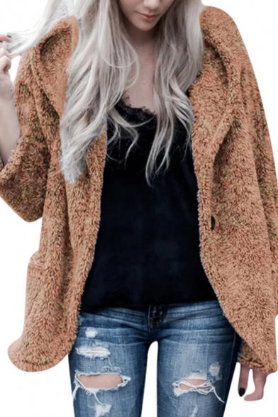 Warm Fashion Women's Long Sleeve Lapel Neck  Sherpa Fleece Plain Relaxed Coat