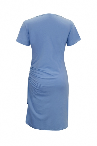 Womens Simple Plain Short Sleeve Round Neck Ruched Detail Tulip Hem Mini T-Shirt Dress