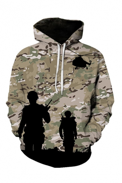 Cool Fashion Boys Long Sleeve Drawstring Army War Camo Pattern Relaxed Hoodie with Pocket