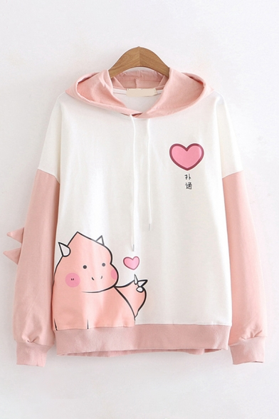 Korean Girls Long Sleeve Drawstring Chinese Letter Dinosaur Heart Graphic Colorblocked Relaxed Hoodie
