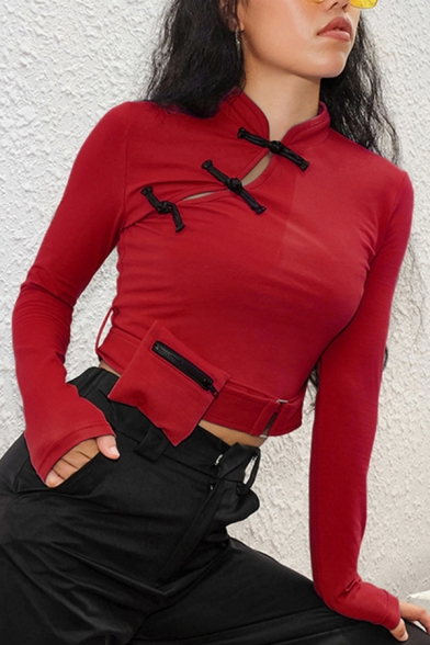 Popular Ladies Plain Long Sleeve Mandarin Collar Frog Button Buckle Belt Slim Crop Tee Top with Bag