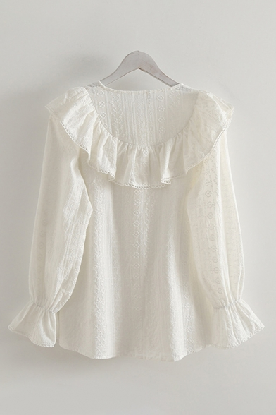 Pretty Girls White Long Sleeve Peter Pan Collar Bow Tied Button Down Lace Relaxed Blouse