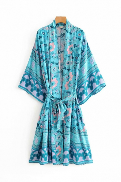 Ethnic Ladies Bell Sleeves Bow Tie Waist All Over Floral Printed Oversize Long Cardigan in Blue