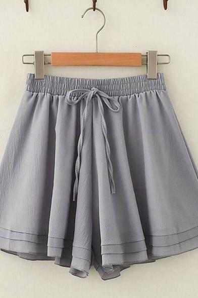 Ladies Leisure Solid Color Drawstring Waist Wide-Leg Shorts