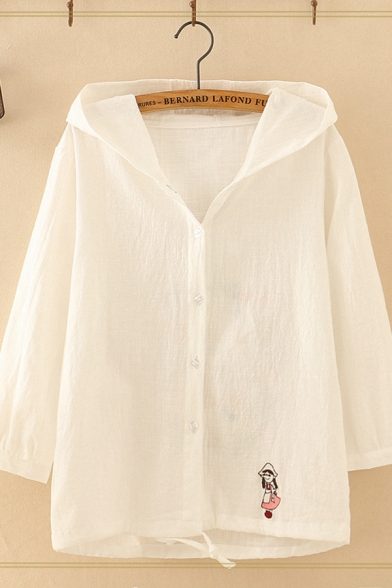 Leisure Womens Long Sleeve Hooded Button Down Cartoon Girl and Flower Embroidered Drawstring Hem Loose Shirt