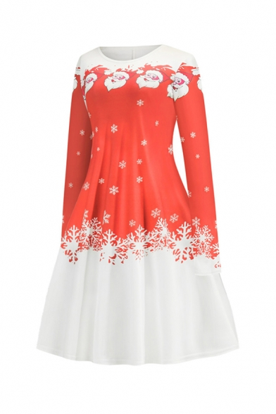 Lovely Girls' Long Sleeve Round Neck Santa Claus Snow Printed Colorblock Short A-Line Pleated Christmas Dress