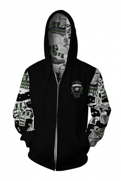 Pretty Cool Boys Long Sleeve Zip Up Drawstring Harry Potter 3D Mixed Printed Loose Hoodie in Black