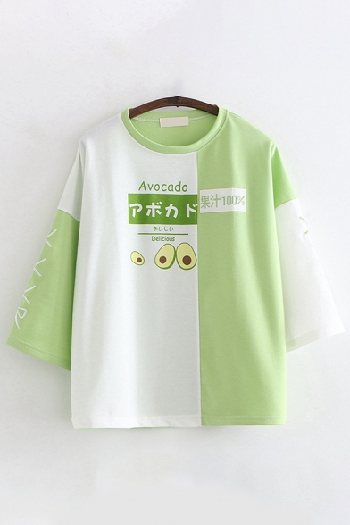 Pretty Girls Three-Quarter Sleeve Round Neck Japanese Letter Strawberry Avocado Patterned Colorblock Relaxed Fit Pullover Sweatshirt