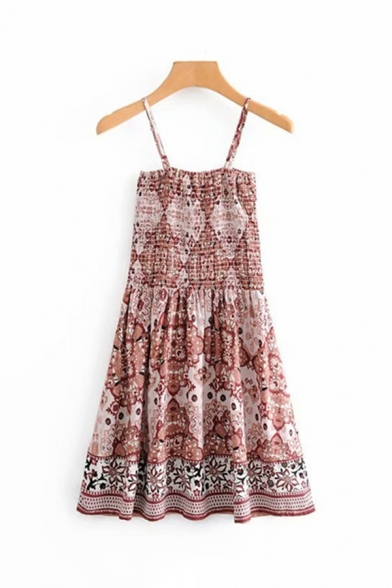 Pretty Ladies Sleeveless All-Over Flower Pattern Short A-Line Pleated Cami Dress in Pink