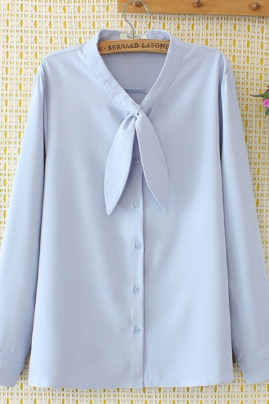 Basic Work Ladies Long Sleeve Bow Tie Neck Button Down Solid Color Loose Fit Formal Shirt