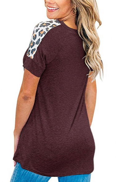 Casual Women's Short Sleeve Round Neck Leopard Print Panel Slim Fit Tee
