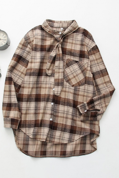 Casual Womens Long Sleeve Tied Neck Button Down Pocket Panel Curved Hem Checkered Printed Relaxed Shirt in Khaki
