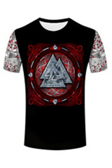 Cool Street Boys Short Sleeve Round Neck Viking 3D Cosplay Patterned Slim Fit T Shirt