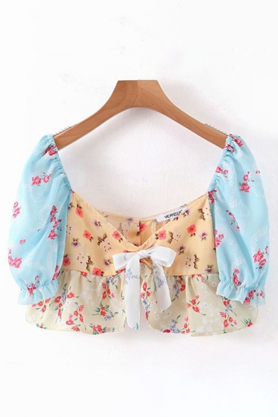 Cute Girls Short Sleeve V-Neck All Over Floral Printed Ruffle Trimmed Cropped Blouse Top in Apricot