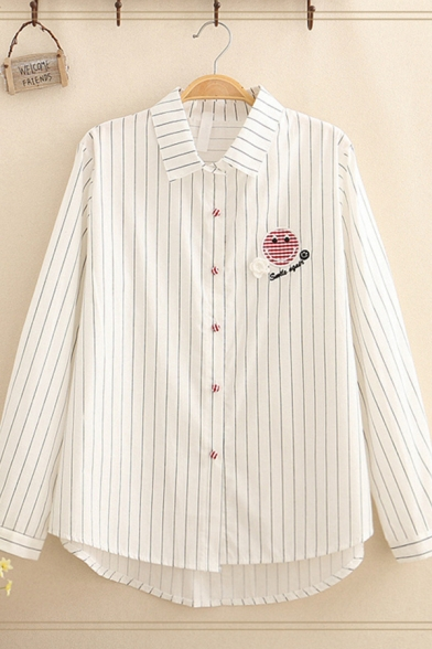 Designer Long Sleeve Lapel Collar Button Down Letter SMILE AGAIN Graphic Embroidered Polka Dot Stripe Loose Shirt in White