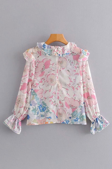 Fancy Womens Long Sleeve Crew Neck All-Over Floral Printed Ruffle Trim Zip Back Relaxed Shirt in White