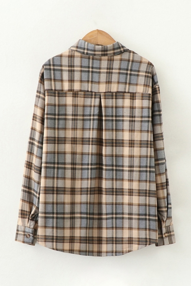 Leisure Classic Long Sleeve Lapel Neck Button Down Plaid Printed Loose Fit Shirt for Women