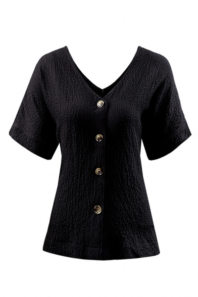 Leisure Ladies' Short Sleeve V-Neck Button Down Solid Color Loose Shirt