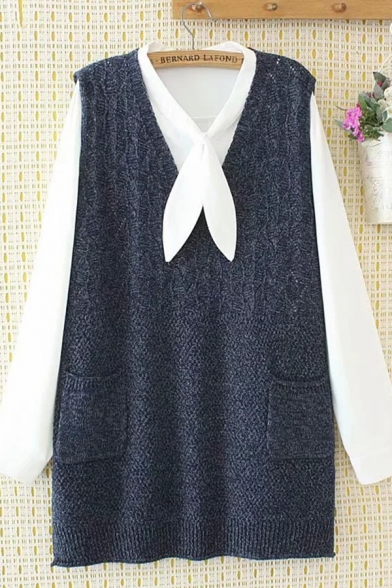 Popular Ladies Sleeveless V-Neck Pockets Side Knitted Solid Color Long Loose Tank Top
