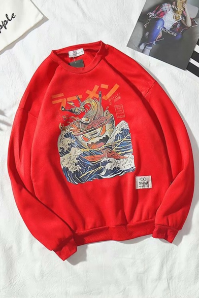 Basic Cool Long Sleeve Crew Neck Japanese Letter Noodles Printed Relaxed Pullover Graphic Sweatshirt for Boys