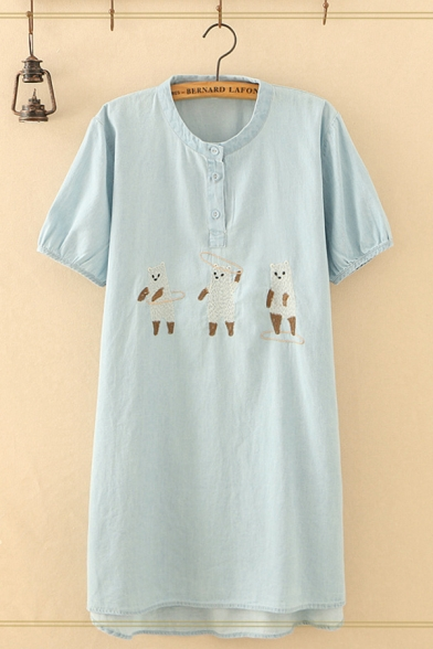 Blue Stylish Short Sleeve Stand Collar Button Up Bear Embroidered Maxi Shift Dress for Girls