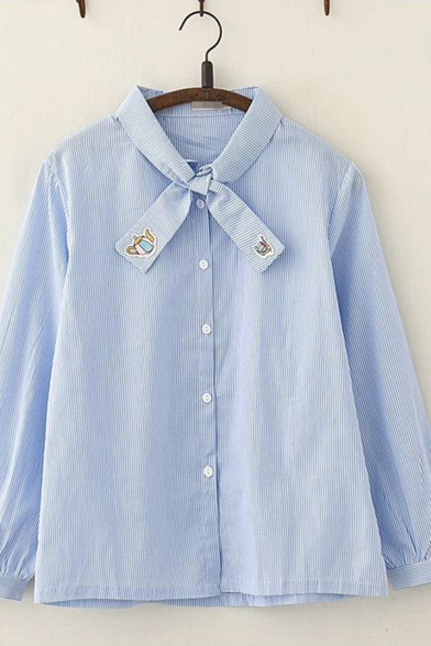 Casual Mens Long Sleeve Bow Tie Neck Embroidered Button Down Striped Relaxed Fit Shirt in Blue