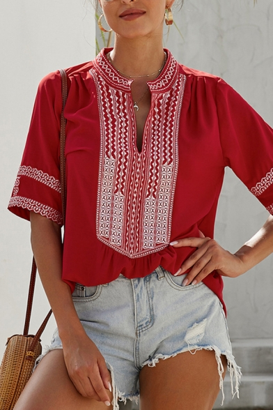 Ethnic Women's Short Sleeve V-Neck Floral Printed Loose Fit T Shirt