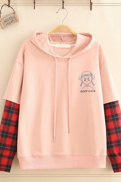 Fake Two-Piece Long Sleeve Drawstring Checker Printed Patched Cartoon Girl Letter GOOD LUCK Graphic Relaxed Hoodie for Girls