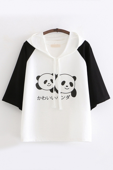 Girls Cool Chic Short Sleeve Drawstring Japanese Letter Panda Pattern Relaxed Hoodie in Black and White