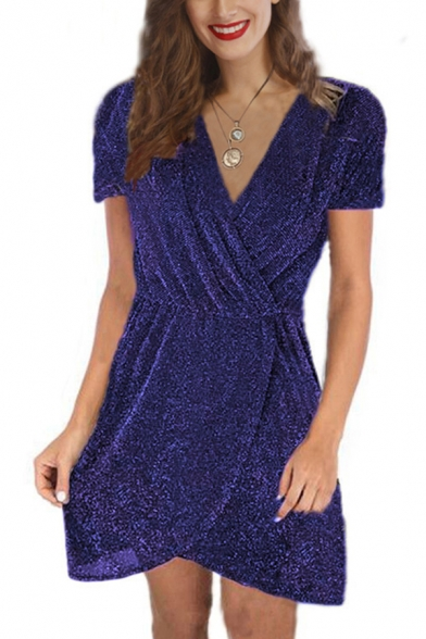 Hot Stylish Girls' Short Sleeve Surplice Neck Sequins Glitter Mini Plain Shift Wrap Dress