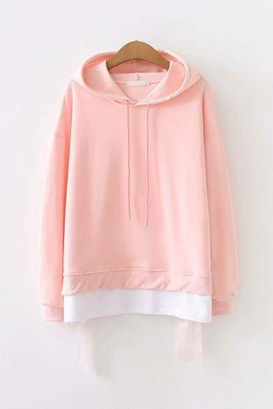 Lovely Girls Long Sleeve Drawstring Straps Contrasted Loose Fit Hoodie