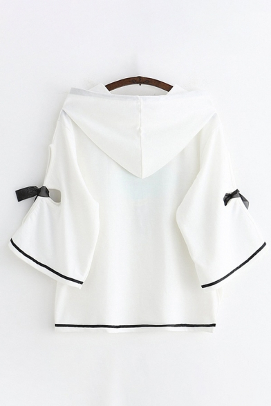 Preppy Girls Bell Sleeves Drawstring Letter IT'S A GIRL Bear Graphic Bow Tie Contrast Piped Slit Front Loose Hoodie in White