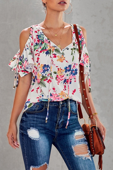 Pretty Girls' Short Sleeve Cold Shoulder All Over Floral Print Strap Relaxed Shirt