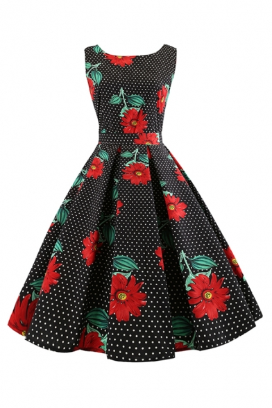 Retro Girls' Sleeveless Round Neck All Over Flower Pattern Bow Tied Waist Long Pleated Flared Dress