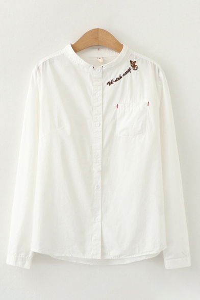 Simple Preppy Girls' Long Sleeve Stand Color Letter Printed Cartoon Graphic Button Front Loose Shirt