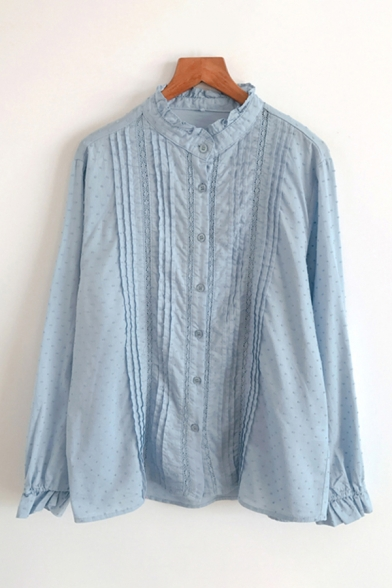 Stylish Girls Long Sleeve Stand Collar Button Down Stringy Selvedge Pleated Plain Loose Shirt