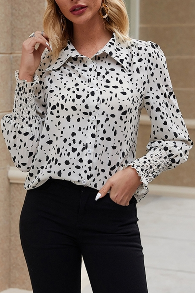 Купить со скидкой White Unique Long Sleeve Lapel Collar Button Down Polka Dot Printed Pleated Relaxed Shirt for Women