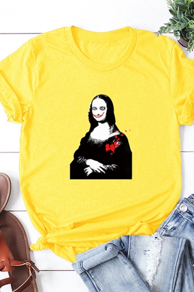 Whole-Sale Girls Roll Up Sleeve Crew Neck Scary Mona Lisa Printed Relaxed Fit T-Shirt
