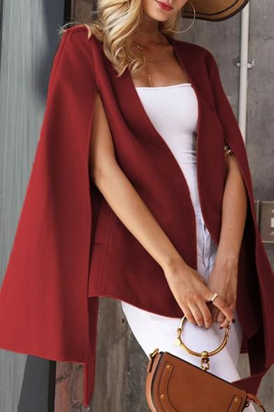 Chic Creative Ladies' Bell Sleeve Surplice Neck Bow Tie Waist Solid Color Slim Fit Coat