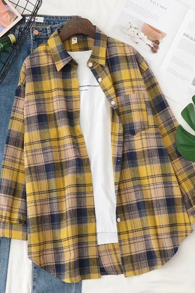 Classic Preppy Girls Roll-Up Sleeves Lapel Collar Button Down Checkered Pattern Curved Hem Loose Shirt