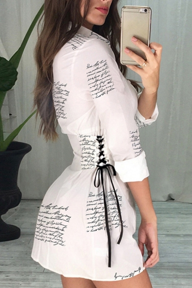 Creative Unique Ladies' Long Sleeve Lapel Neck Button Down All-Over Letter Printed Lace Up Side Mini Sheath Shirt Dress in White